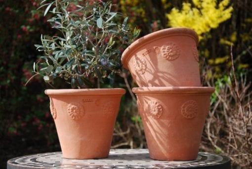 Italiensk terracottakruka Vaso con Rosette handgjord i Impruneta Florens Italien