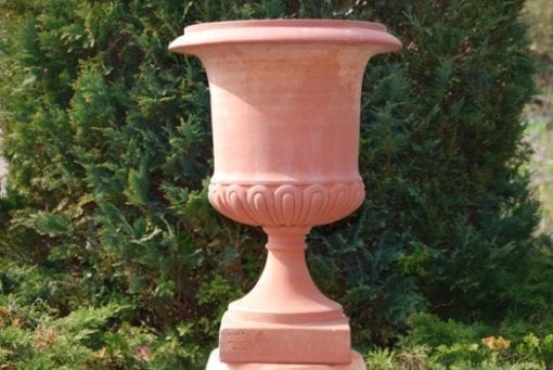 Urna på fot Vaso Mediceo Liscio frosttålig Italiensk terrakotta Impruneta