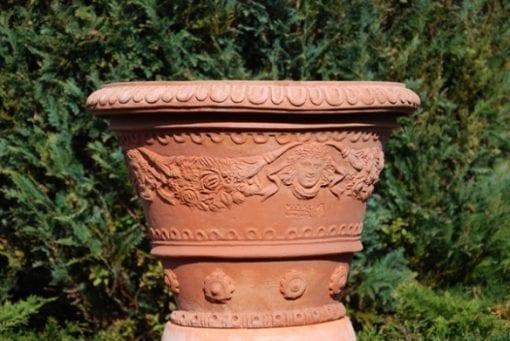 Terrakottakruka Ornament Vaso Ornato con Angeli Renässans Florens