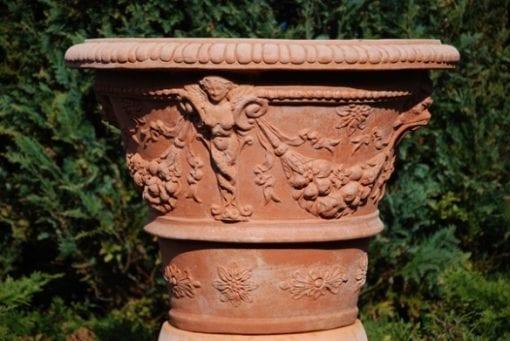 Terrakottakruka Impruneta Vaso Ornato con Cariatidi frosttålig