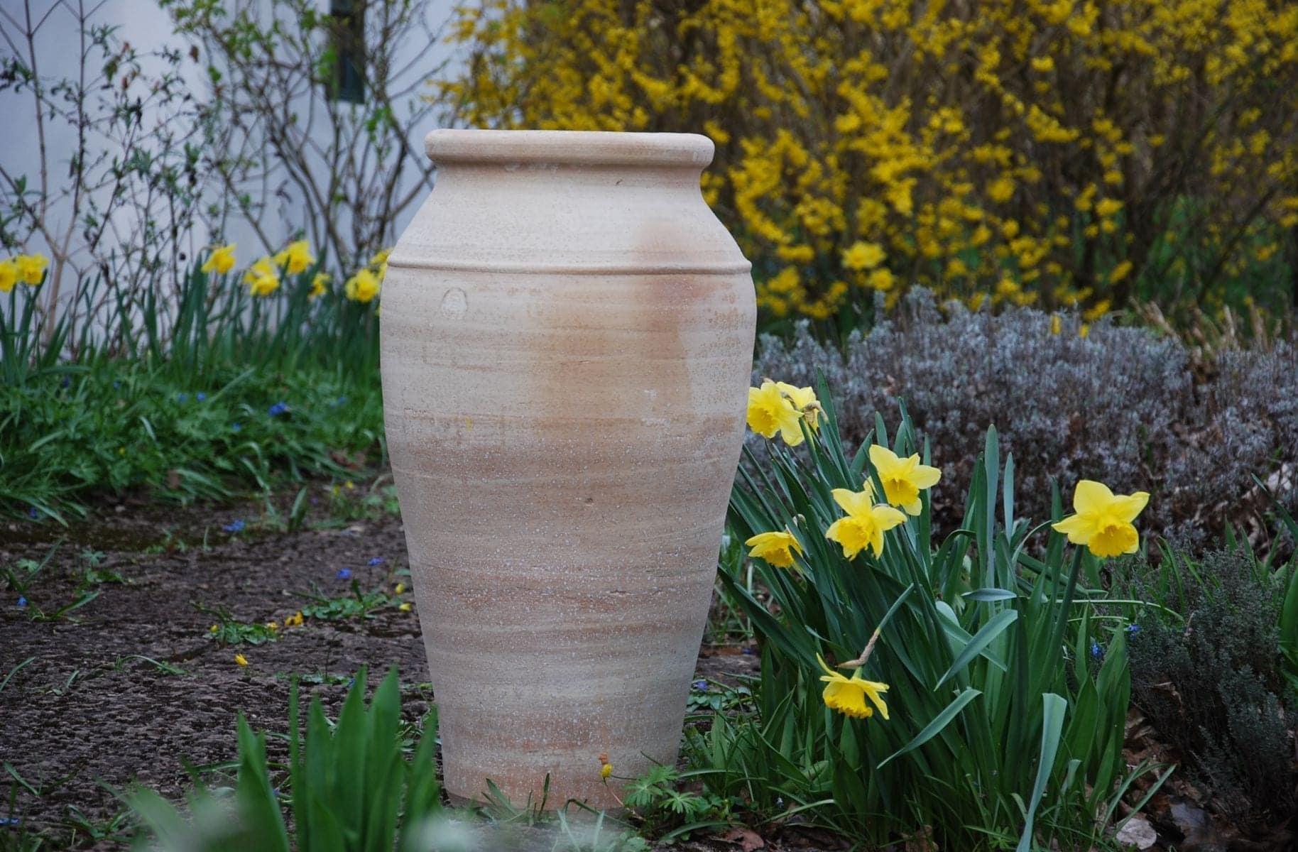 Bottle stor urna i frosttålig terrakotta från Medelhavet och Kreta