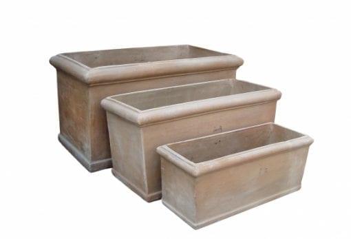 rektangulär kruka cassetta chocolate stora fyrkantiga terrakottakrukor