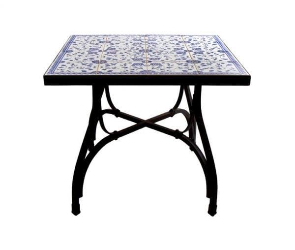 Kakelbord smidesbord utemöbler för orangerier och medelhavsträdgård