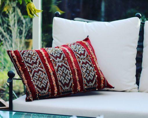 Kudde i handvävd Berber Kelim 100% ull från Marrakech äkta vara