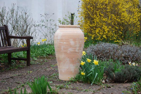 Labyrinth hög urna och kruka i terrakotta från Kreta för trädgård och design utekrukor trädgårdskruka