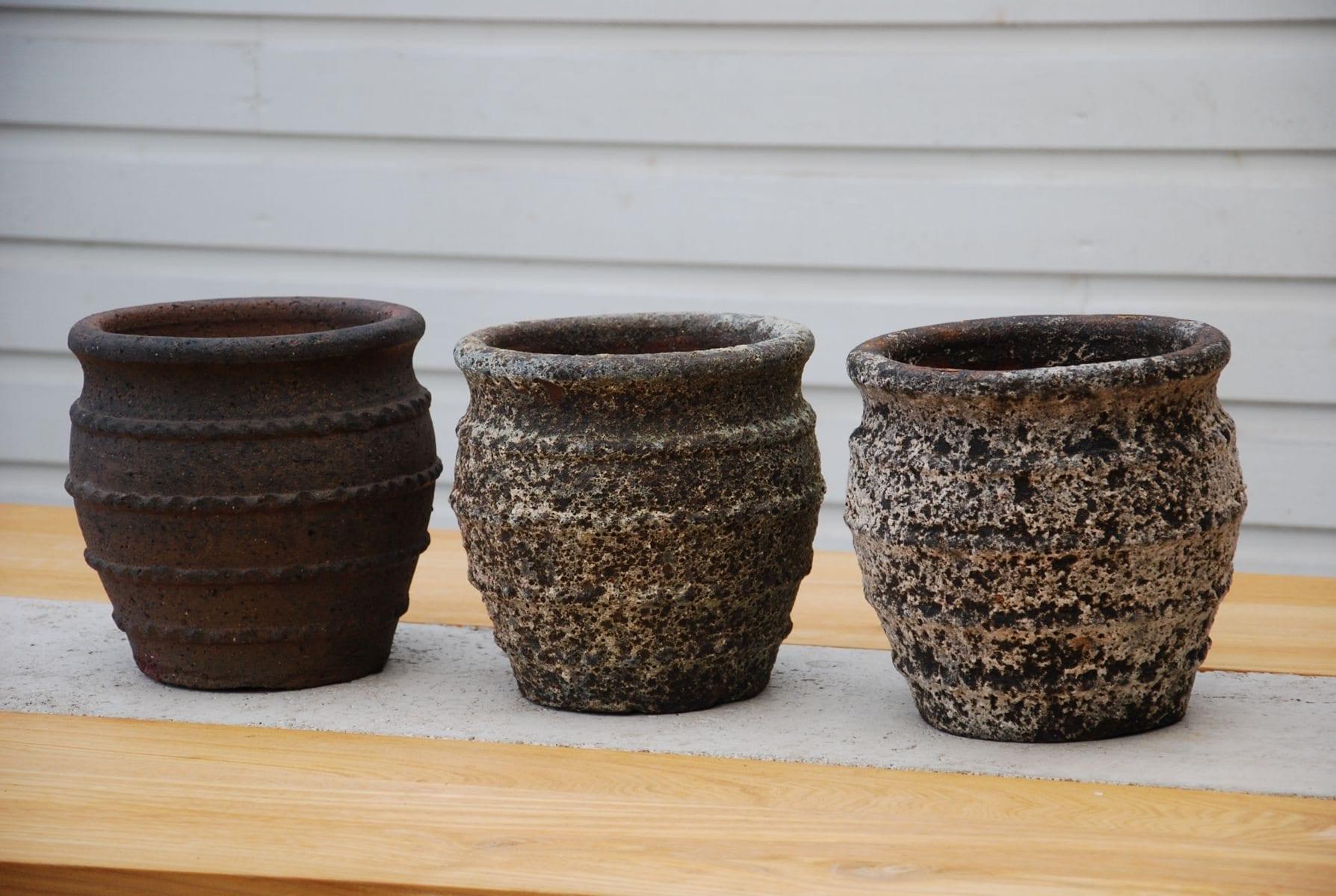Nano 3st frosttåliga utekrukor i stengods för trädgården