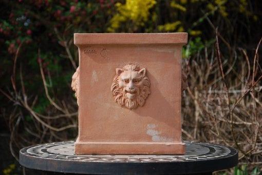 Quadrato teste leone fyrkantig terrakottakruka med lejon från Italien och Cadabra