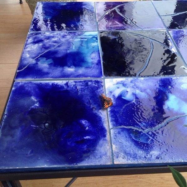 Smidesbord Italien med keramiska plattor till smidesstolar och smidesmöbler