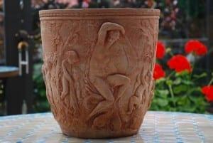 Vaso Diana snygga dekorerade handgjorda krukor i terrakotta ifrån Impruneta Italien