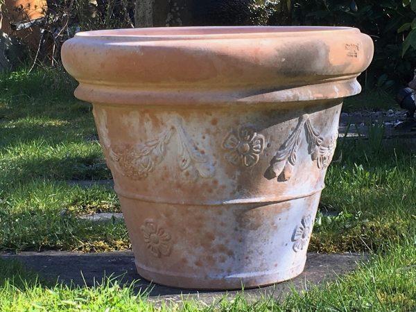 patinerade krukor vaso festonato terrecotte vinificato trädgårdskrukor utekrukor terracottakrukor