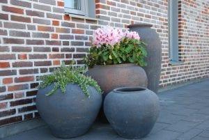 Vaso Veccio stora låga krukro och urnor gardendesign