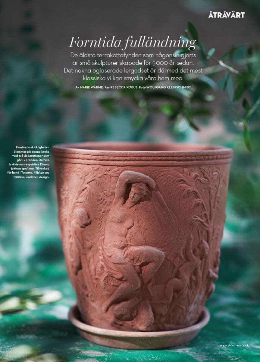 Vaso Diana handggjord Italienska terrakottakrukor från Cadabra Design