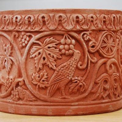 Italiensk terracottakruka cachepot bizantino handgjord terracottakrukor från Impruneta utekrukor