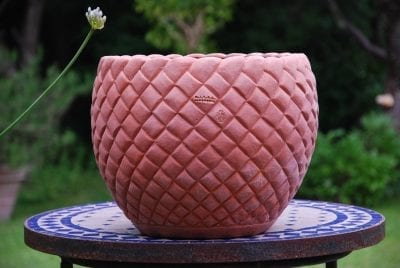Cachepot Bugnato skål och kruka i handgjord Italiensk terrakottakrukor terracotta trädgårdskrukor utekrukor från Impruneta
