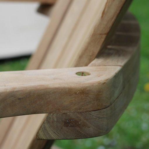 Adirondackstol teak new england för trädäck och trädgården detalj rygg