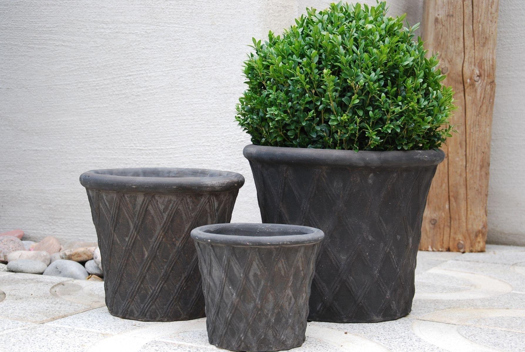 utekrukor rombo licorice terrakottakrukor svarta för trädgården