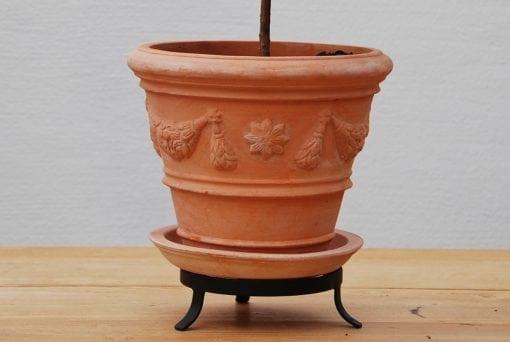 terrakottakruka med fat och tassring piccolo festonato kruka
