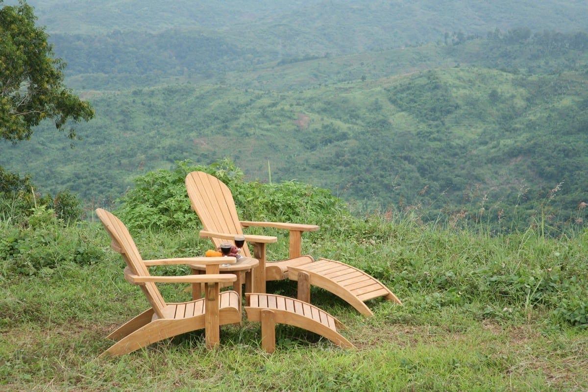 Teakmöbler Adirondackstol med bord solstol loungemöbler för trädgården och uteplatsen1