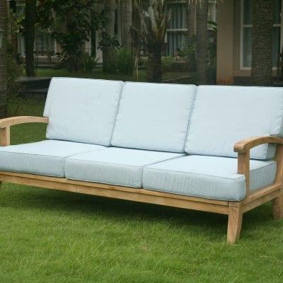 Teakmöbler Raffles soffa 3 sits dynor loungemöbler för trädgården och uteplatsen