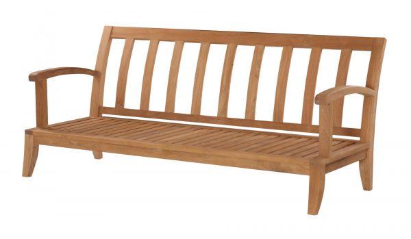 Teakmöbler Raffles soffa 3 sits loungemöbler för trädgården utemöbler