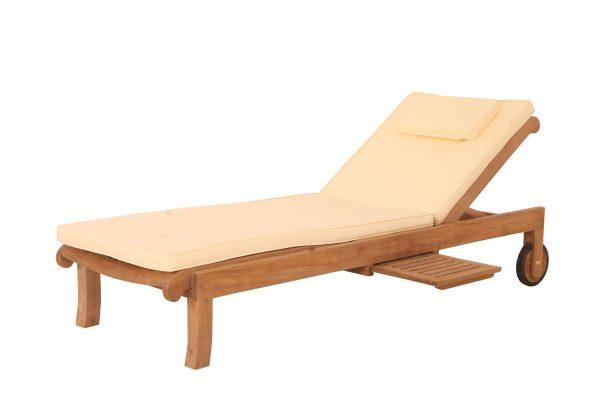 Solstol i teak Bali solvagn loungemöbler för trädgården och uteplatsen frilagd dyna