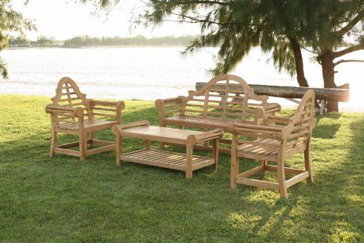 Trädgårdsmöbler i teak design Lutyens grupp med bord fåtölj och soffa