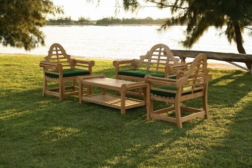 Trädgårdsmöbler i teak design Lutyens grupp med bord fåtöljer och soffa och dynor